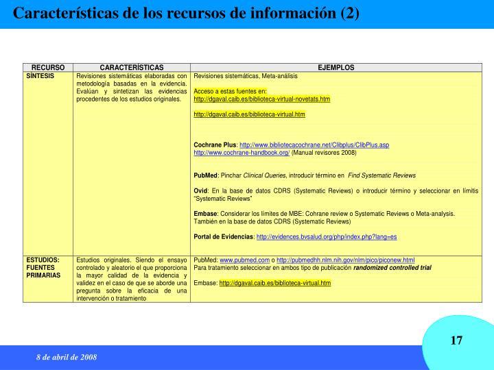 Características de los recursos de información (2)