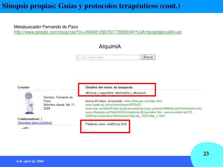 Sinopsis propias: Guías y protocolos terapéuticos (cont.)