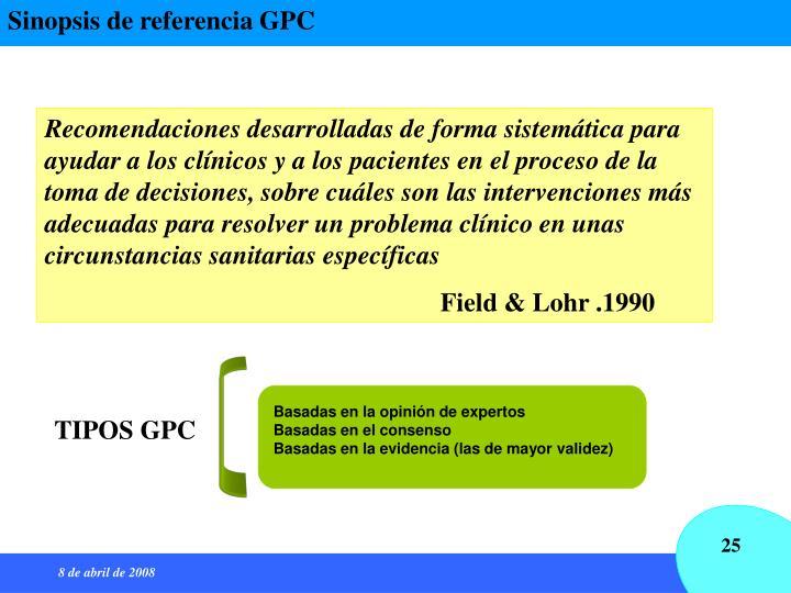 Sinopsis de referencia GPC