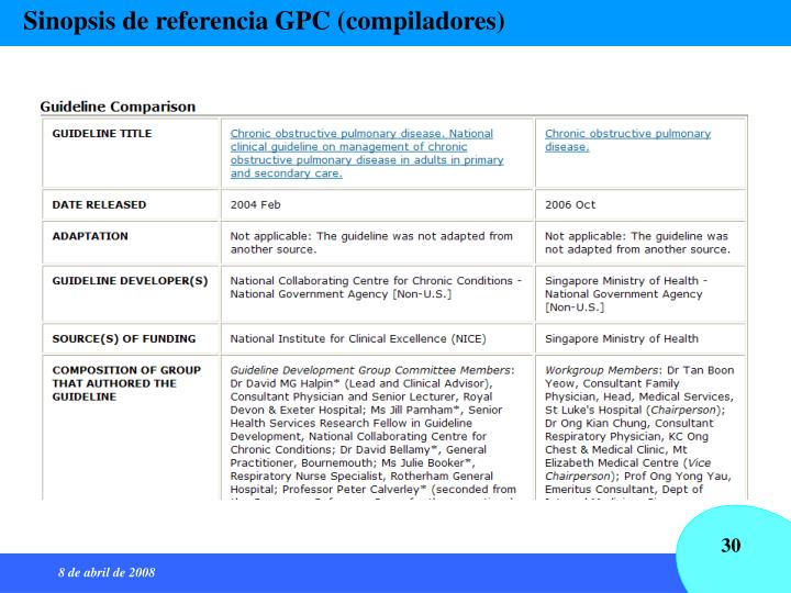 Sinopsis de referencia GPC (compiladores)