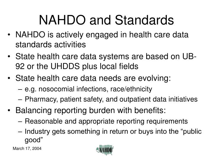 NAHDO and Standards