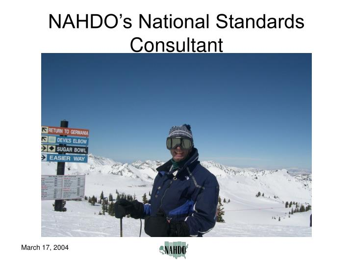 NAHDO's National Standards Consultant
