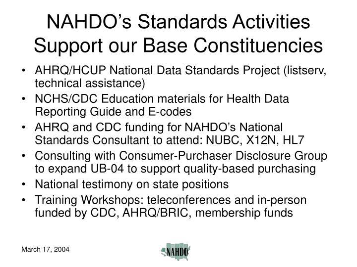 NAHDO's Standards Activities Support our Base Constituencies