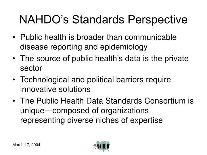 NAHDO's Standards Perspective
