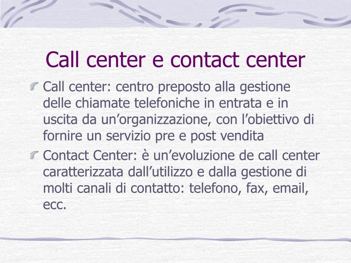 Call center e contact center