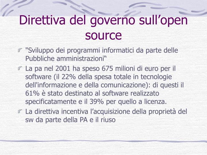 Direttiva del governo sull'open source