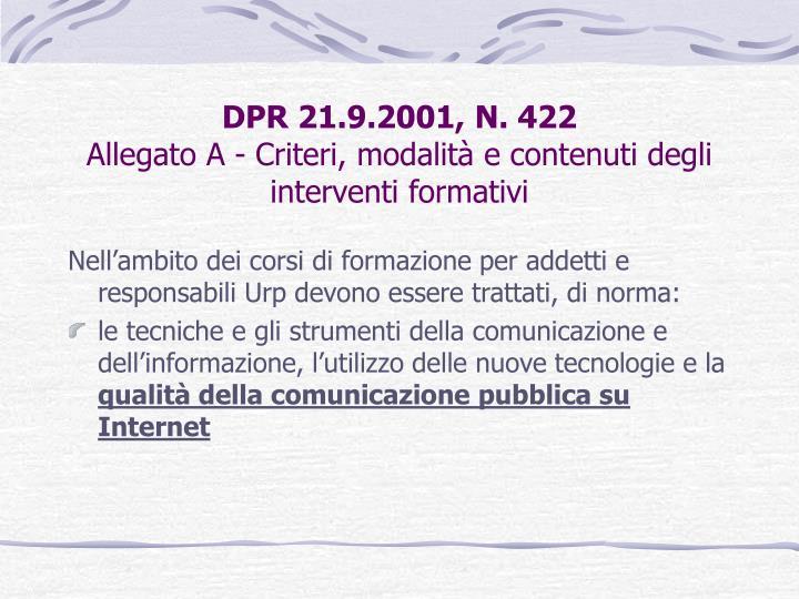 DPR 21.9.2001, N. 422