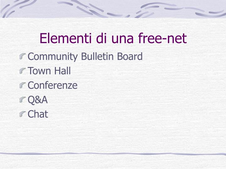 Elementi di una free-net