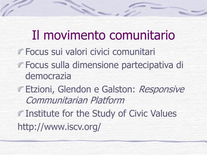 Il movimento comunitario