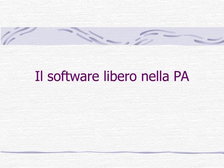 Il software libero nella PA