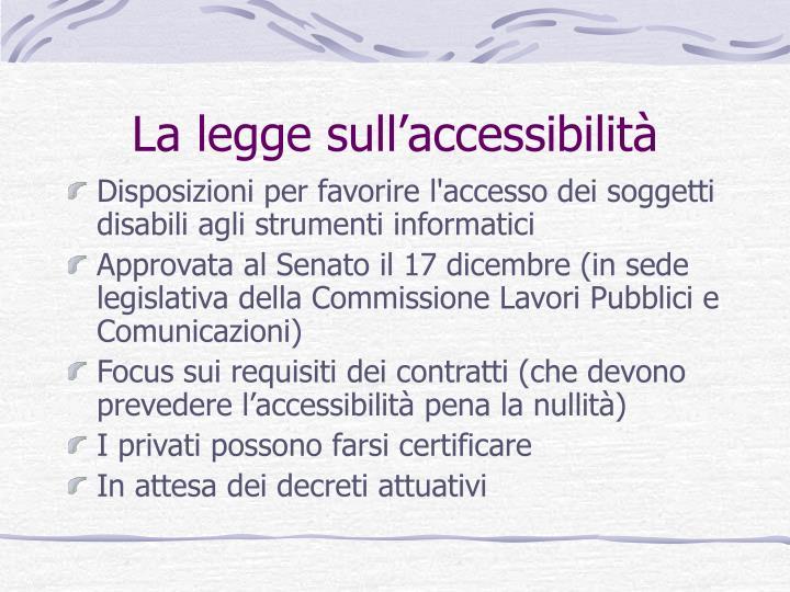 La legge sull'accessibilità