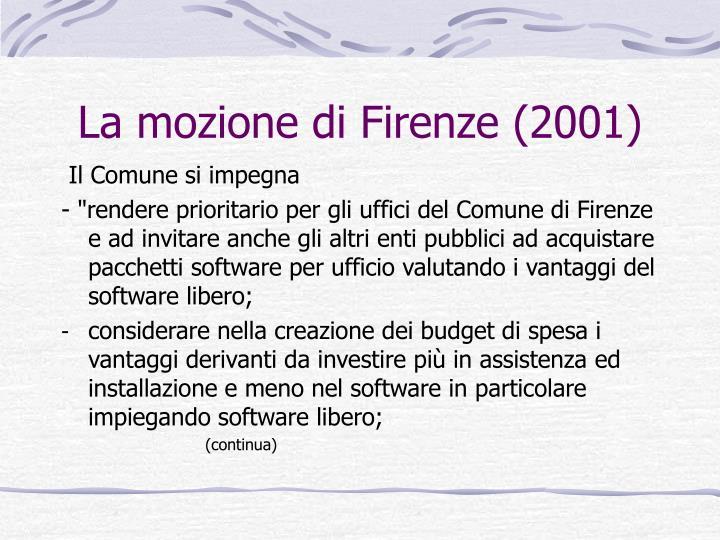 La mozione di Firenze (2001)