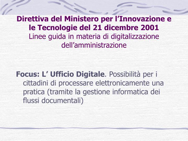 Direttiva del Ministero per l'Innovazione e le Tecnologie del 21 dicembre 2001