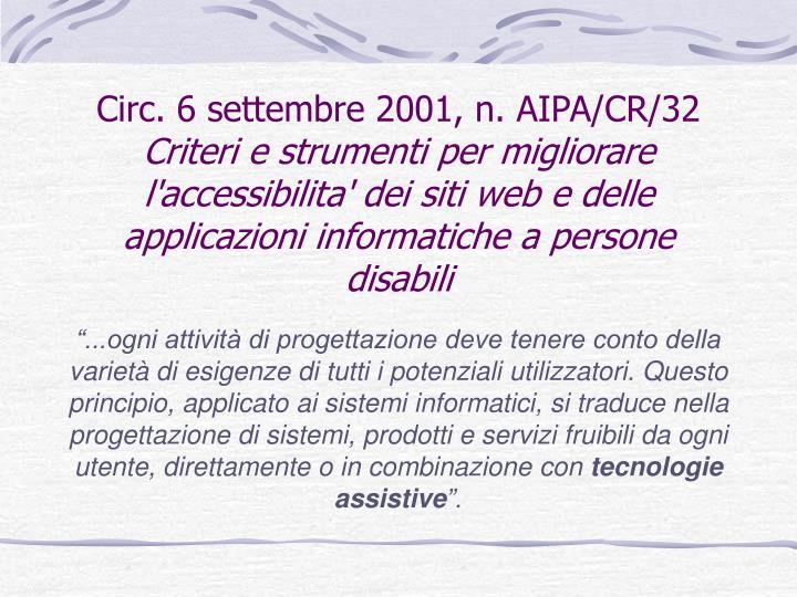 Circ. 6 settembre 2001, n. AIPA/CR/32