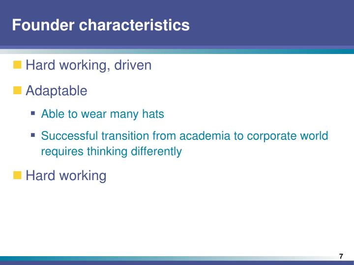 Founder characteristics
