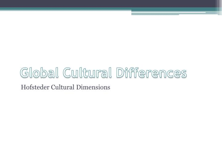 Global cultural differences