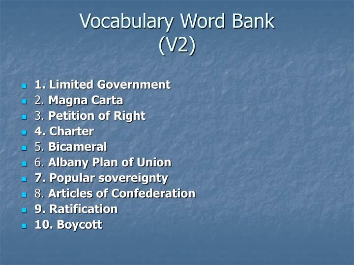 Vocabulary Word Bank
