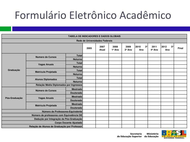 Formulário Eletrônico Acadêmico