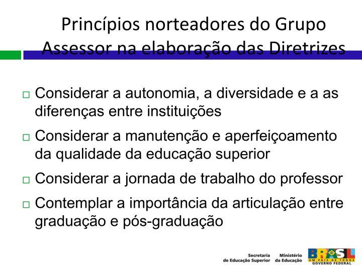 Princípios norteadores do Grupo Assessor na elaboração das Diretrizes
