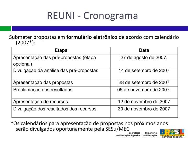 REUNI - Cronograma