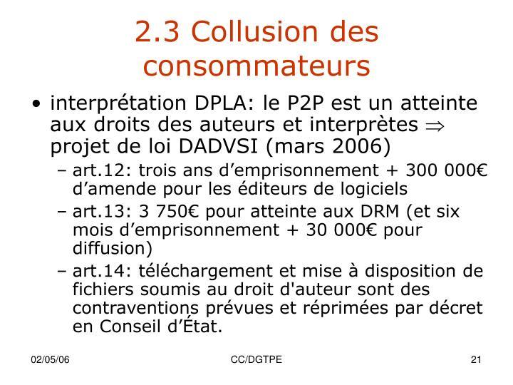 2.3 Collusion des consommateurs