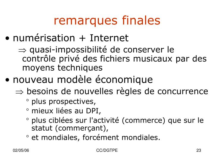 remarques finales