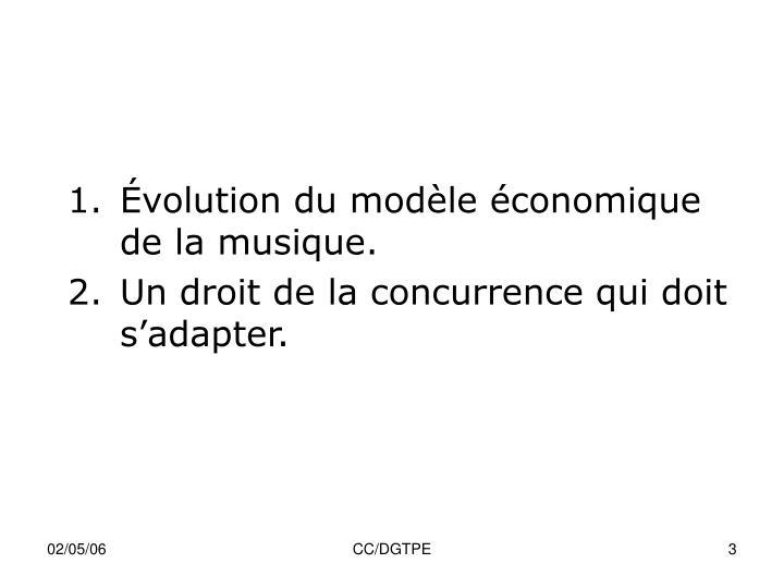 Évolution du modèle économique de la musique.
