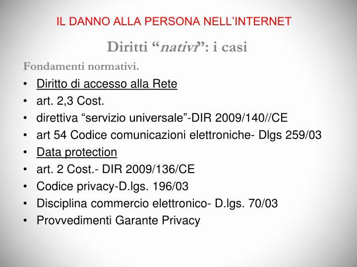 IL DANNO ALLA PERSONA NELL'INTERNET
