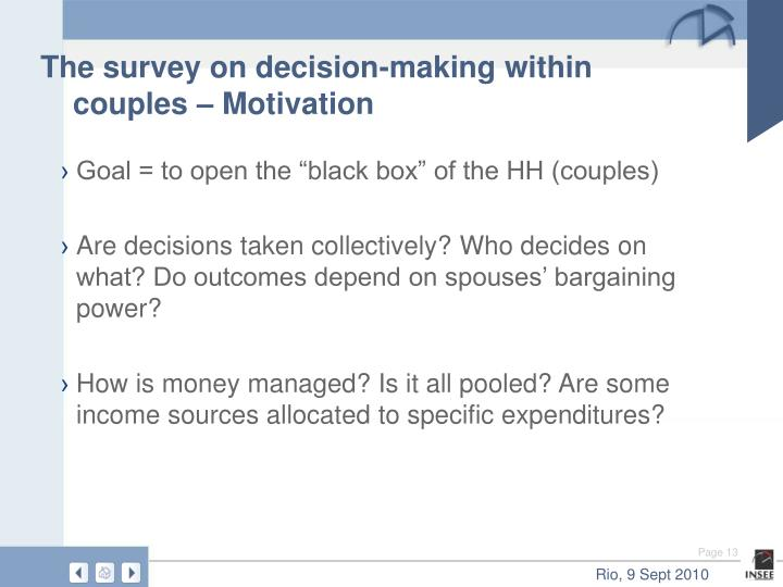 The survey on decision-making within couples – Motivation