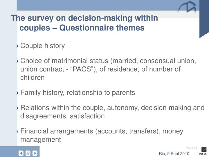 The survey on decision-making within couples – Questionnaire themes