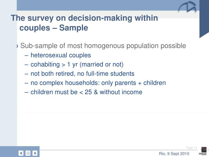 The survey on decision-making within couples – Sample
