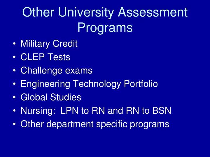 Other University Assessment Programs