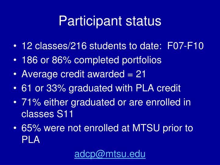 Participant status