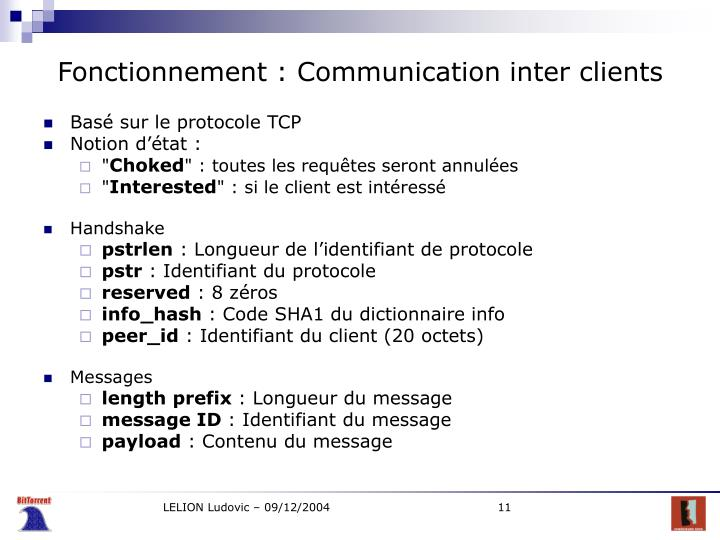 Fonctionnement : Communication inter clients