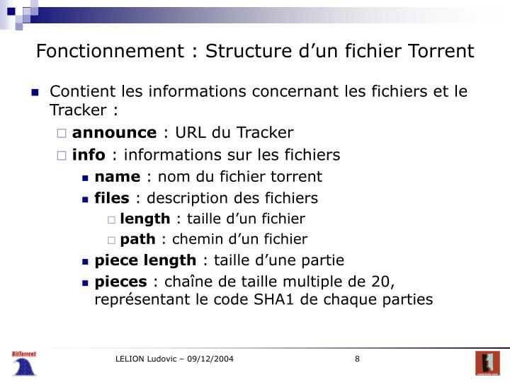 Fonctionnement : Structure d'un fichier Torrent