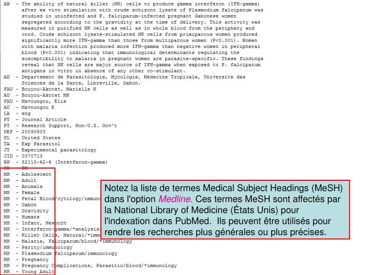 Notez la liste de termes Medical Subject Headings (MeSH) dans l'option
