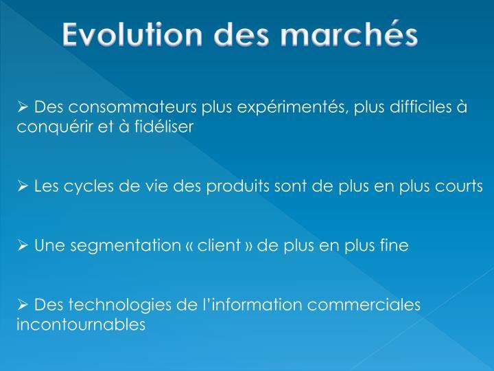 Evolution des marchés