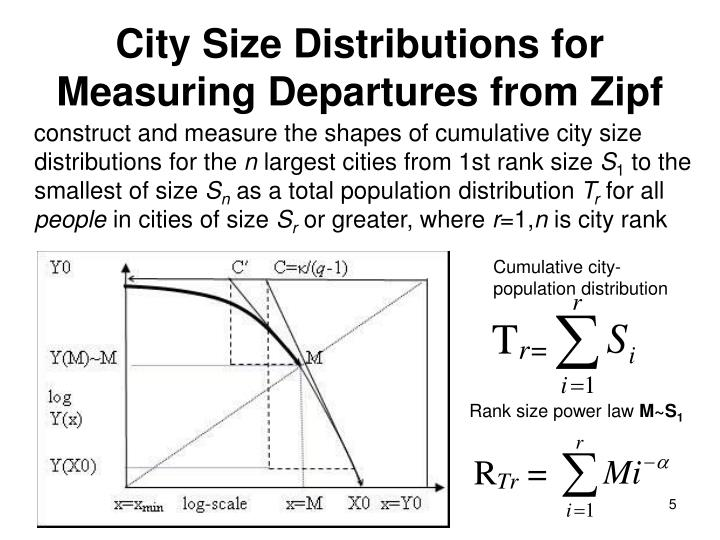 construct and measure the shapes of cumulative city size distributions for the