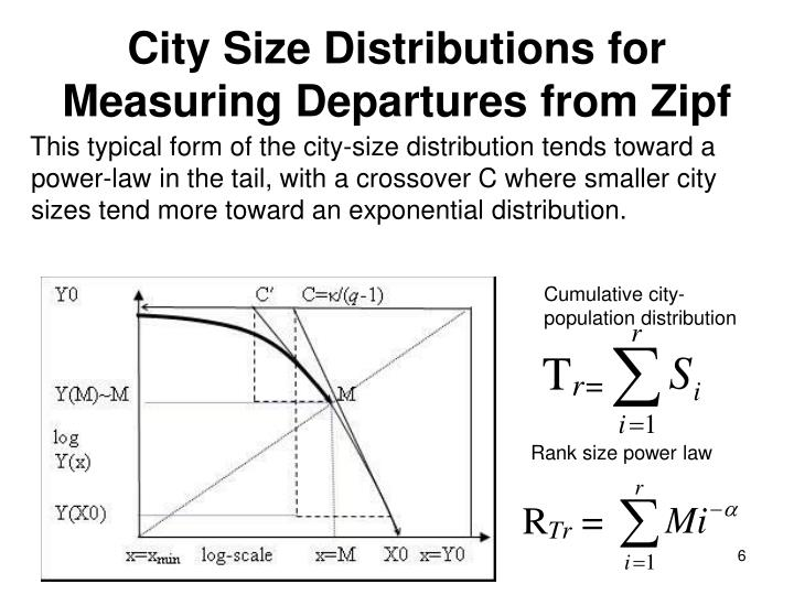 This typical form of the city-size distribution tends toward a power-law in the tail, with a crossover C where smaller city sizes tend more toward an exponential distribution.