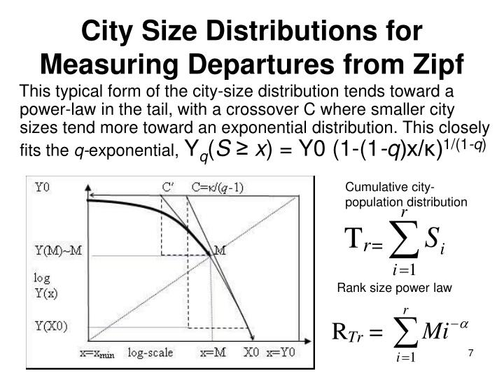 This typical form of the city-size distribution tends toward a power-law in the tail, with a crossover C where smaller city sizes tend more toward an exponential distribution. This closely fits the