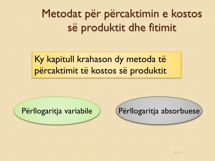 Metodat për përcaktimin e kostos së produktit dhe fitimit