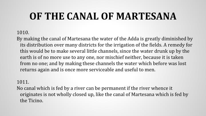OF THE CANAL OF MARTESANA