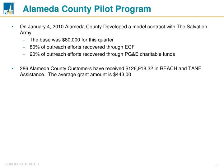 Alameda County Pilot Program