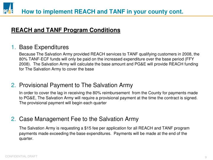 How to implement REACH and TANF in your county cont.
