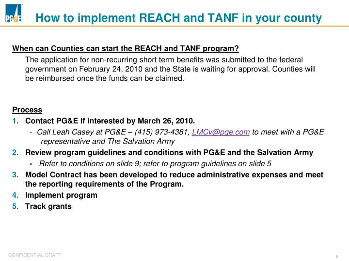How to implement REACH and TANF in your county