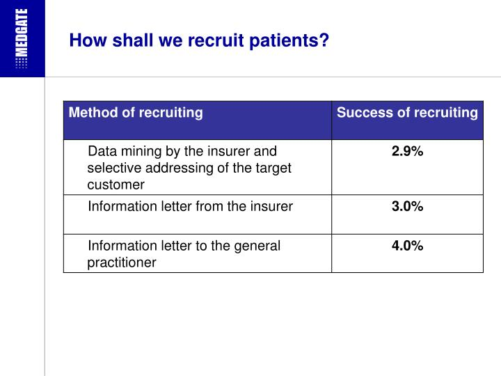 How shall we recruit patients?