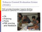 tobacco control evaluation center tcec