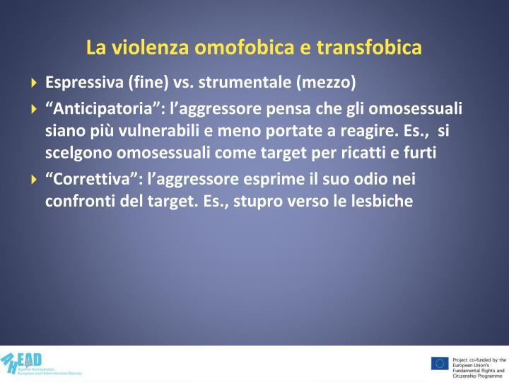 La violenza omofobica e transfobica