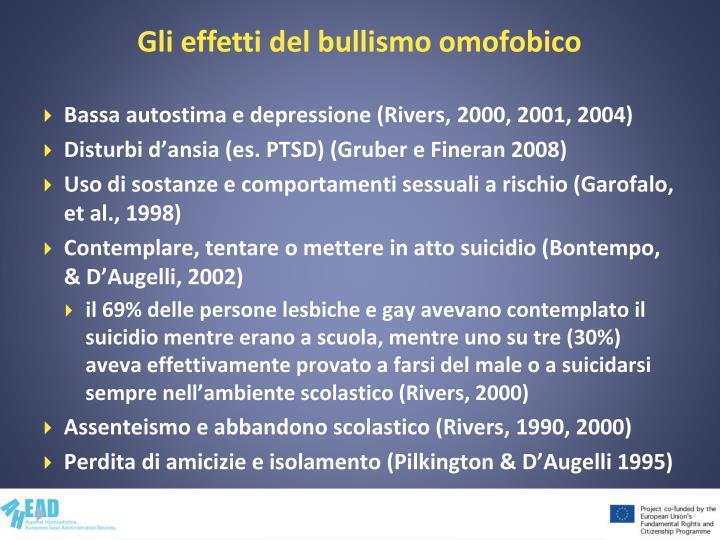 Gli effetti del bullismo omofobico