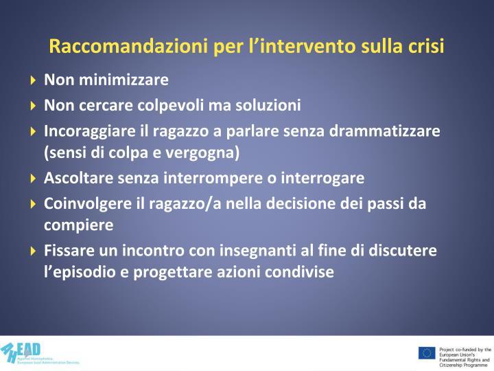 Raccomandazioni per l'intervento sulla crisi